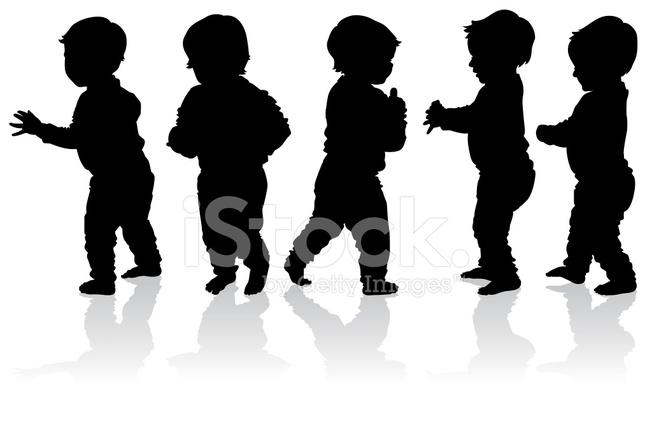 Siluetas DE Más Bebés Caminar Stock Vector