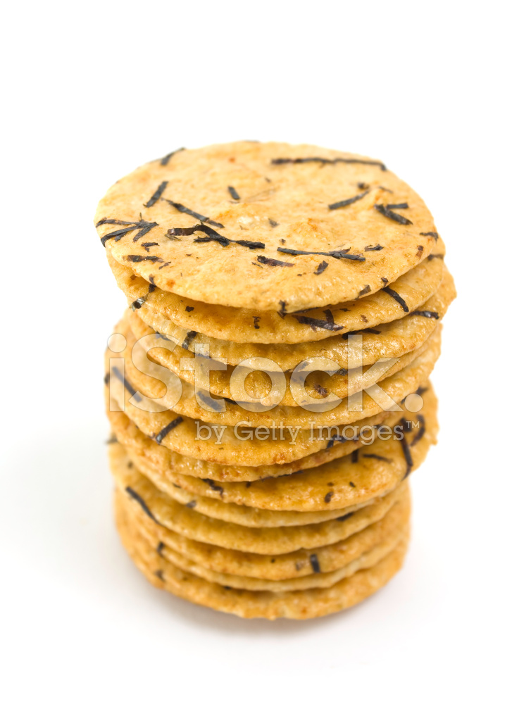 stack of seaweed flavored rice crackers stock photos