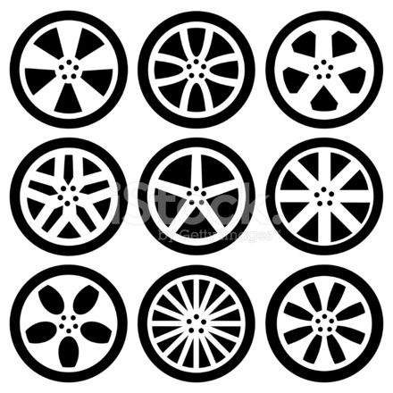 Black Silhouettes Alloy Wheels Stock Vector - FreeImages.com