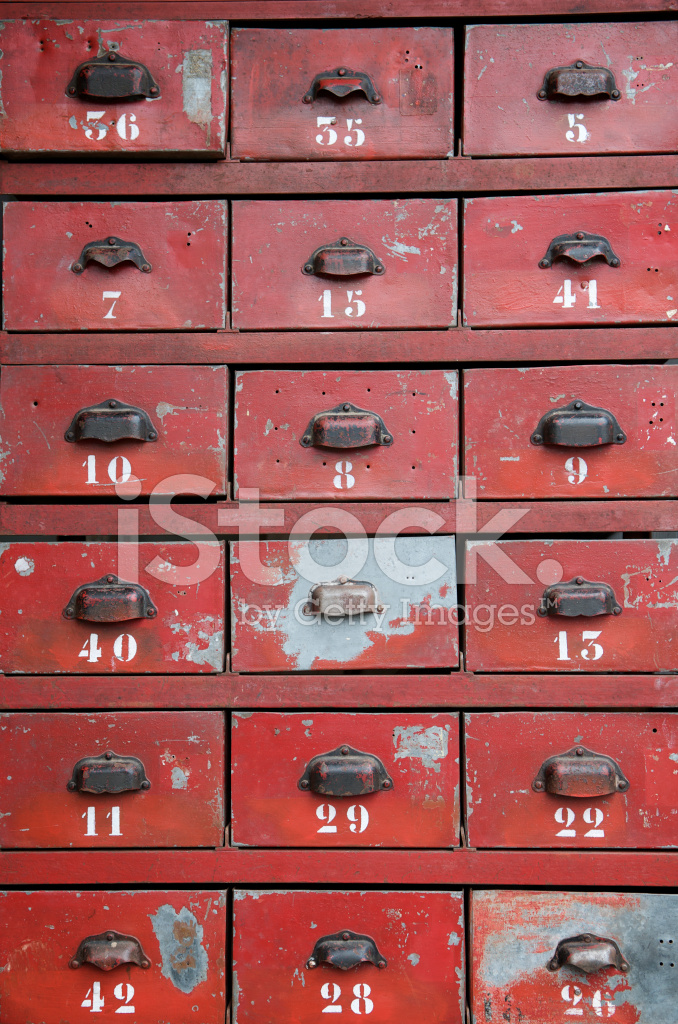 Stack Of Old Numbered Red Drawers Filing System Archives