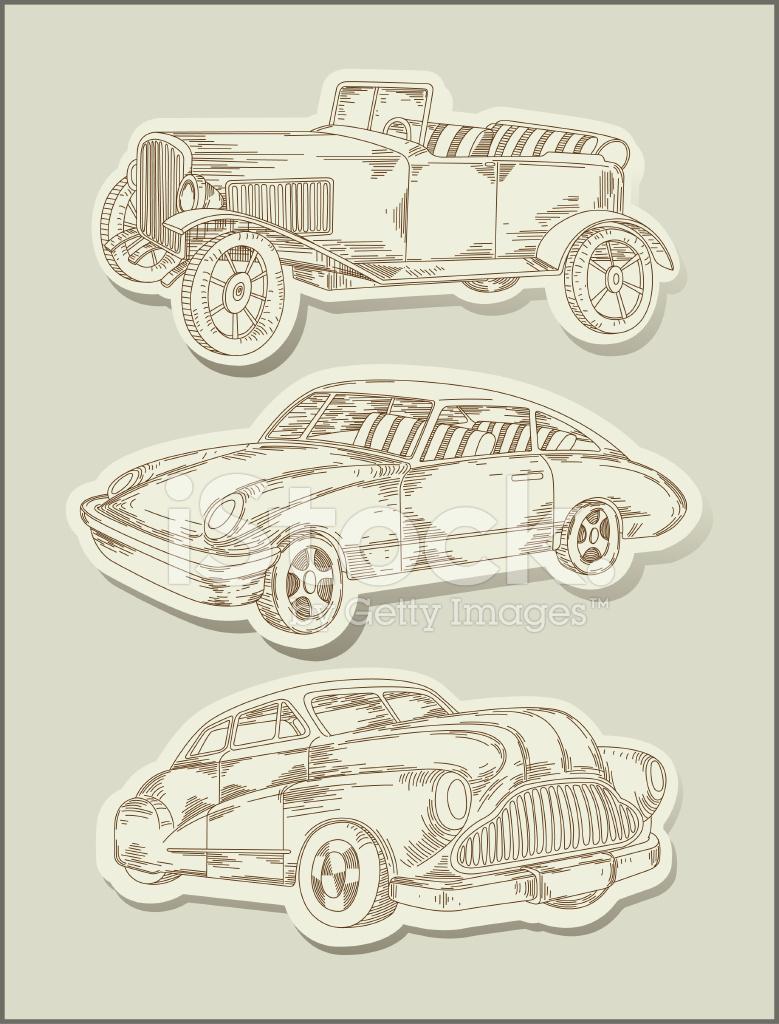 Oldtimer Autos Strichzeichnung Objekte Vektor Stock Vector ...