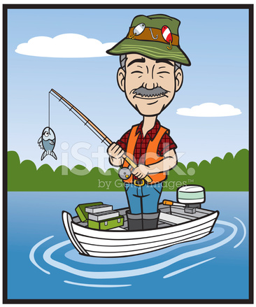 Pescador De Dibujos Animados Fotograf 237 As De Stock