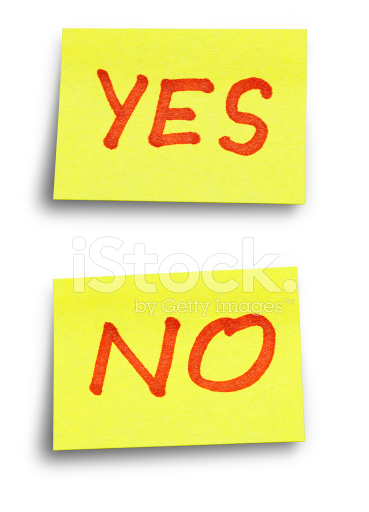 Yes No Stickers With Clipping Paths Stock Photos