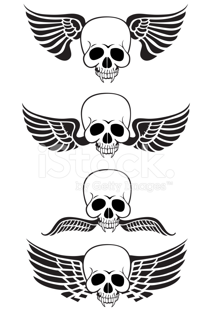 Flying Skull Wings Stock Vector Freeimages