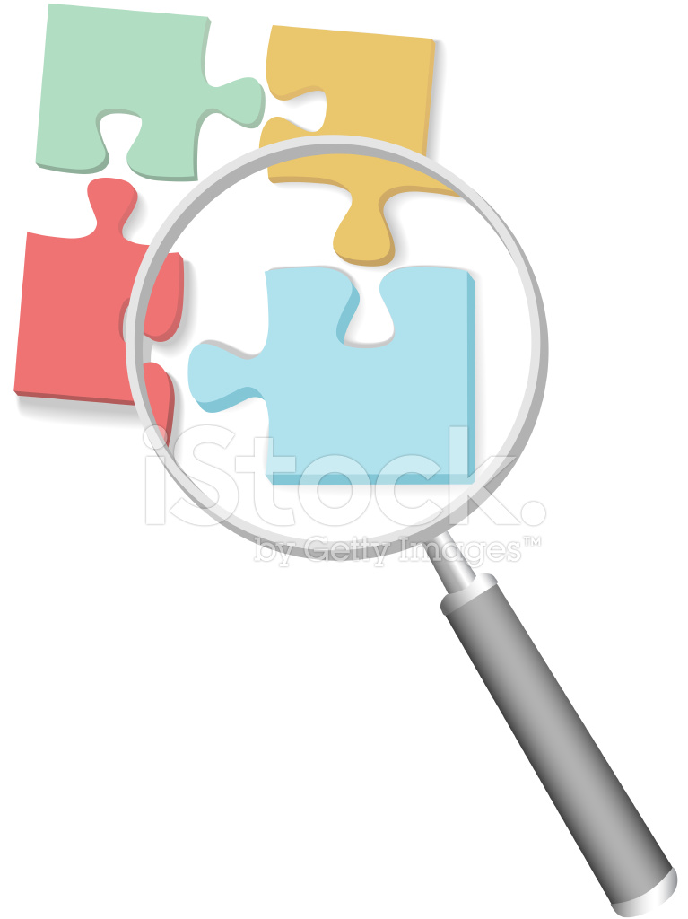Find Solution Jigsaw Puzzle 4 Pieces Magnifying Glass