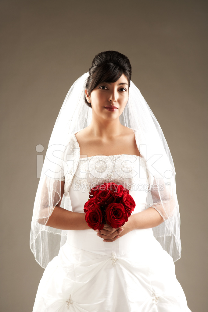 Beautiful Bride IN White Wedding Dress Holding Red Roses Stock ...