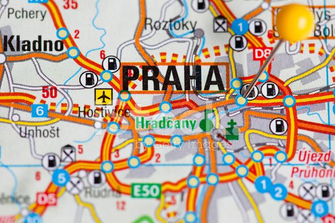 thumbtack in map prague czech republic travel destination