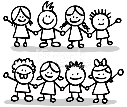 One Line Art Smiley : Lineart happy children friends group holding hands cartoon