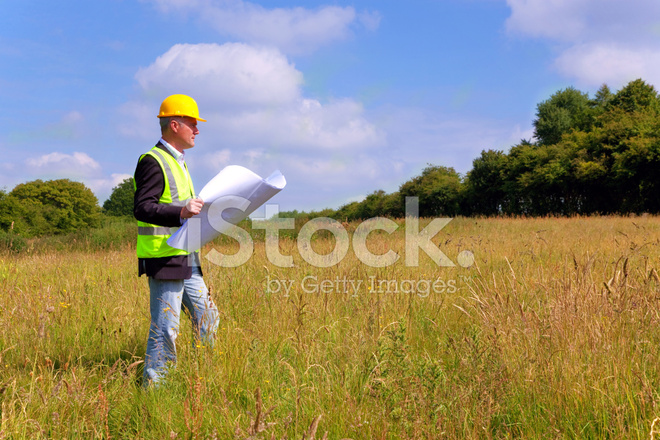 architect surveying a new building plot stock photos