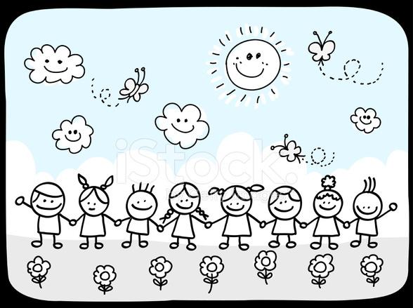 Grupo De Amigos De Niños Felices Sosteniendo Las Manos Verano