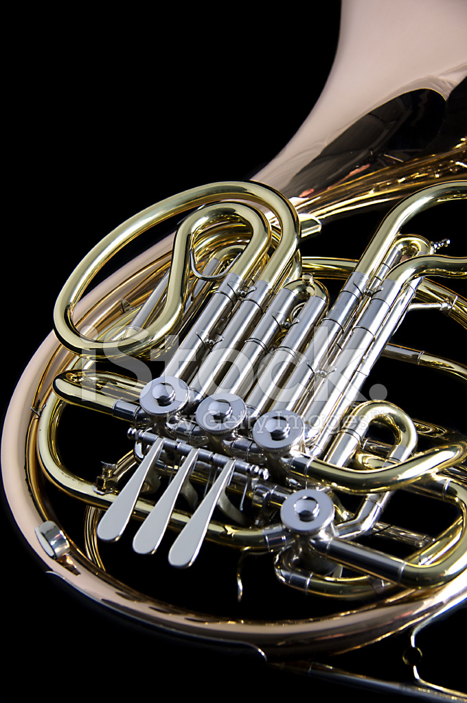 French Horn Isolated on Black Background Stock Photos ...