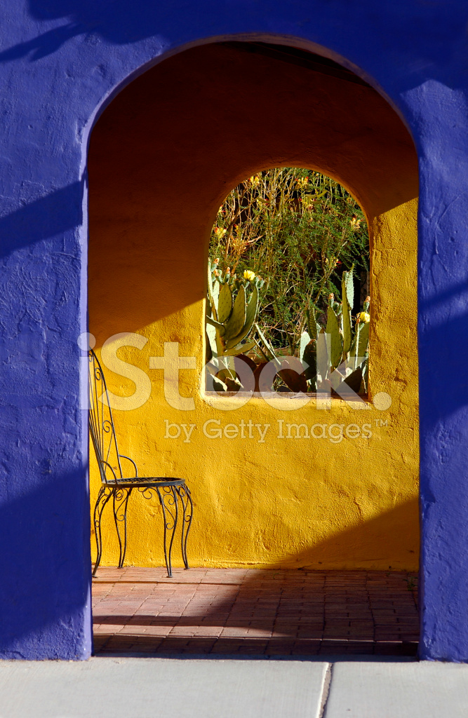 Purple Patio Chair Seat Cushions: Purple And Yellow Mexican Style Patio Stock Photos