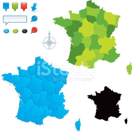 Franska Karta Med Regioner Stock Vector Freeimages Com