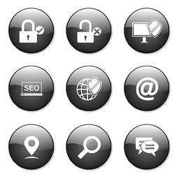 Seo Internet Sign Black Vector Button Icon Design Set 3 Stock Vector Freeimages Com