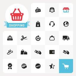 ショッピングのアイコンとラベル 画像をストックする Freeimages Com