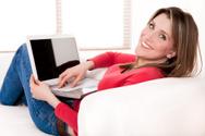 Women,Laptop,Computer,Sofa,...