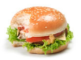 Biting,Burger,Hamburger,San...