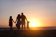 Family,Beach,Sunset,Silhoue...