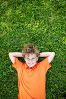 Child,Lying Down,Grass,Litt...