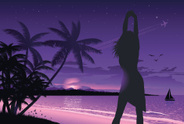 Beach,Night,Women,Tropical ...
