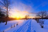 Winter,Sunset,Sun,Snow,Foot...