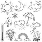 Doodle,Sun,Moon,Sketch,Umbr...