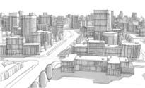 Urban Scene,City,Sketch,Bui...