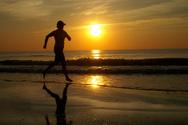 Jogging,Beach,Sunset,Silhou...