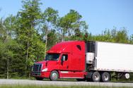 Semi-Truck,Red,White,Drivin...
