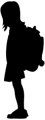Silhouette,Child,Backpack,E...
