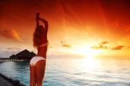 Bikini,Water,Sunset,House,T...