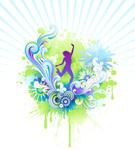Dancing,Women,Flower,Vector...