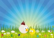 Easter,Chicken - Bird,Carto...