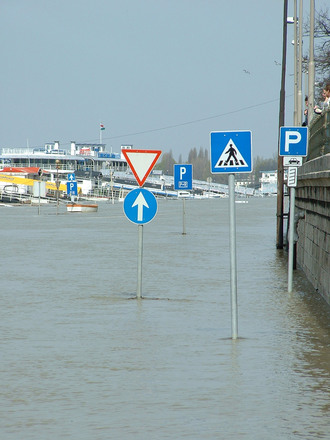 Traffic signs in the flood