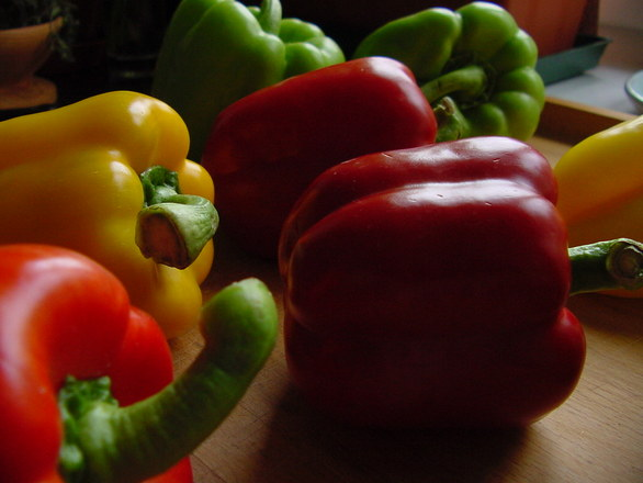 red, gree, yellow pepper