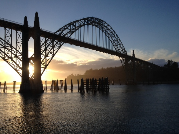 Free Newport Oregon Bridge At Sunset 101 Stock Photo