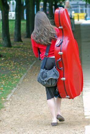 Girl with cello case