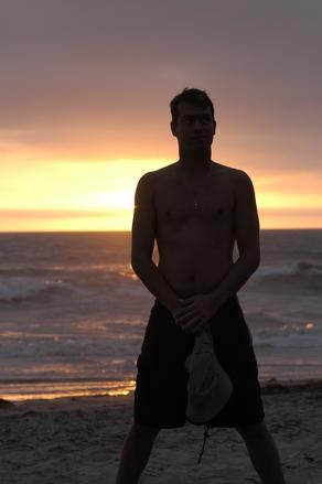 Man blocking the sunset