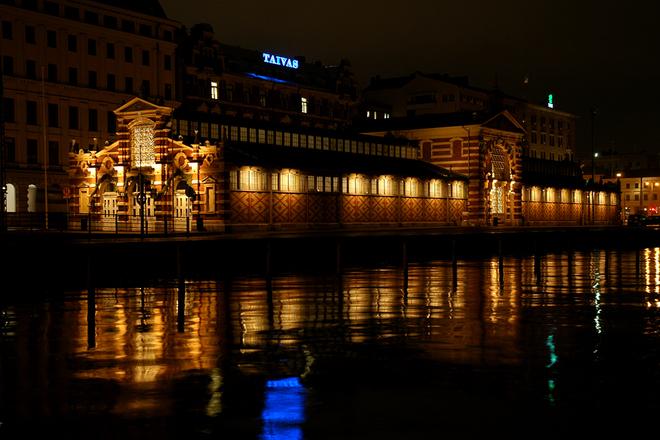 Free Helsinki By Night Old Market Hall Stock Photo