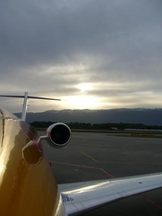Sunset in Geneve's airport