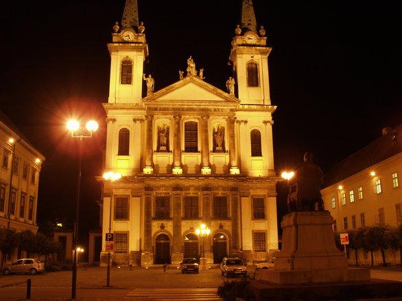 Szombathely church in the evening