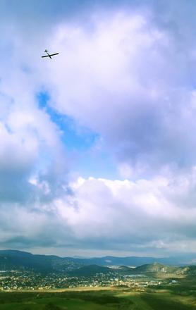 sailplane in the clouds
