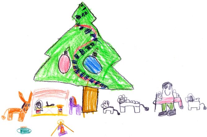 kids drawing of christmas scenery