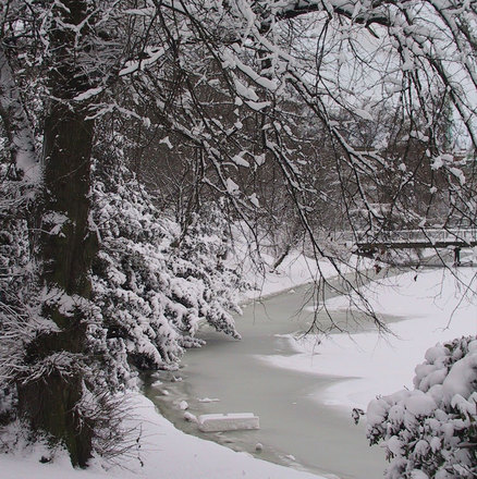 Frozen Canal and bridge