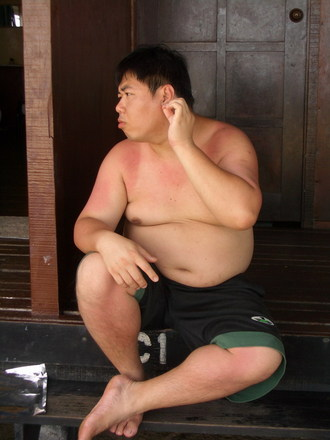 Half Nude Chubby