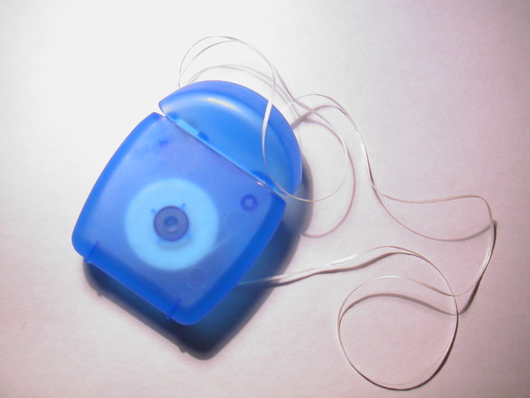 dental floss from blue case
