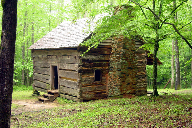 free log cabin stock photo