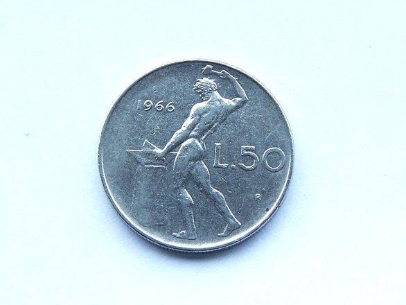 1966 Italian 50 Lira Coin 1