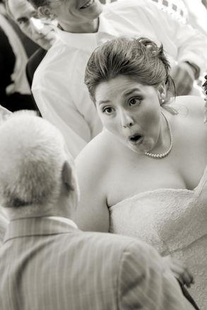 Bride looking surprised