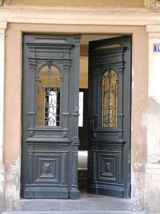 a brown door 11